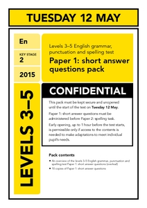 Levels 3-5 English grammar, punctuation and spelling test