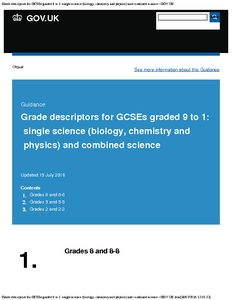 Grade descriptors for GCSEs graded 9 to 1 : single science